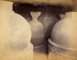 Close view of the dagobas (stupas) under the rock, Bhaja Caves, Pune District